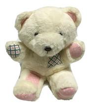 Vtg Patchwork Teddy Bear Plush Stuffed Animal Toy Hearts Brown Eyes Nose - $29.69
