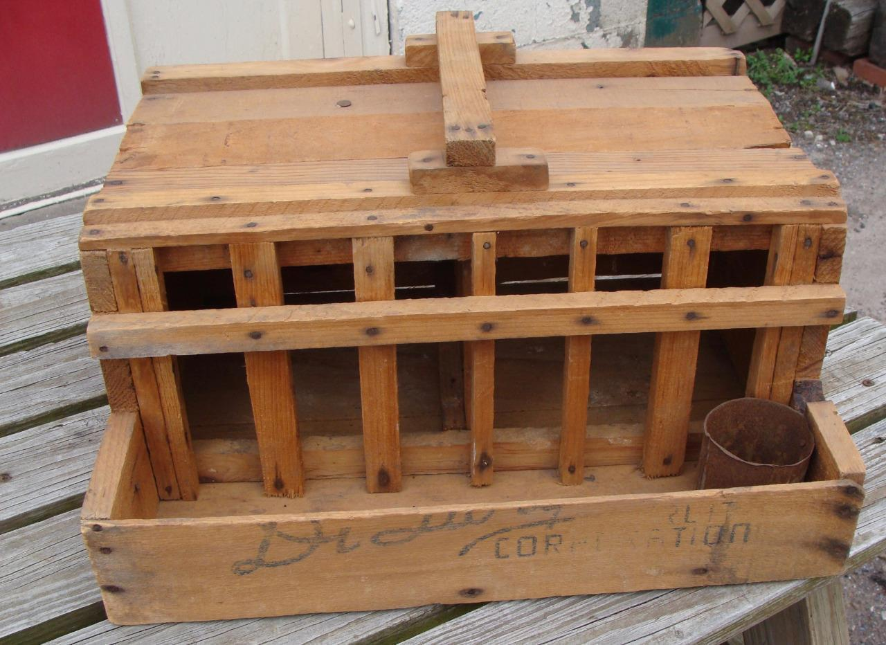 Primitive Handmade Homing Pigeon Carrier Box Coop Wood CA Fruit Crate AAFA