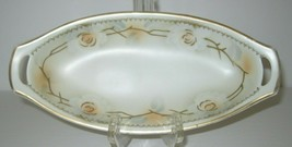 Vintage German Serving Bowl Oval Dish Relish Dish Roses Raised Gold Germ... - $28.01