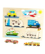 Puzzle Board For Kids, Professor Poplar Wooden People Movers Kid Puzzle ... - $17.99