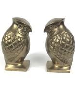 Vintage Pair Mid Century Modern Brass Owl Sculpture Bookends Paperweights - $67.89