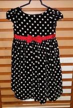 GYMBOREE black & white cap sleeve polka dot velvet dress Christmas girls 7 - $16.50