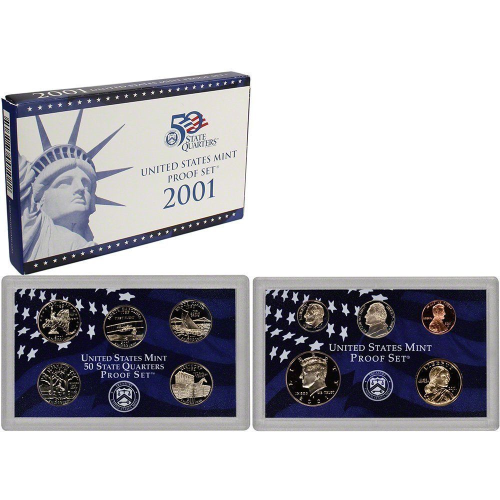 2001-S Proof Set United States US Mint Original Government Packaging Box & COA