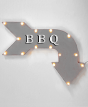 """24"""" BBQ Curved Arrow Sign Light Up Rustic Metal Marquee Barbecue Food Ea... - $111.38+"""