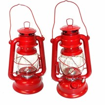 Lot of 2 Red Hurricane Lantern Hanging Emergency Camping Kerosene Oil La... - $21.77