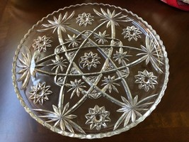 "Vintage EAPC Anchor Hocking Star Burst Pressed Clear Glass Platter 13.5""... - $34.65"