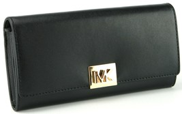 Michael Kors Large Envelope Purse Continental Wallet Black Mindy Smooth ... - $182.59