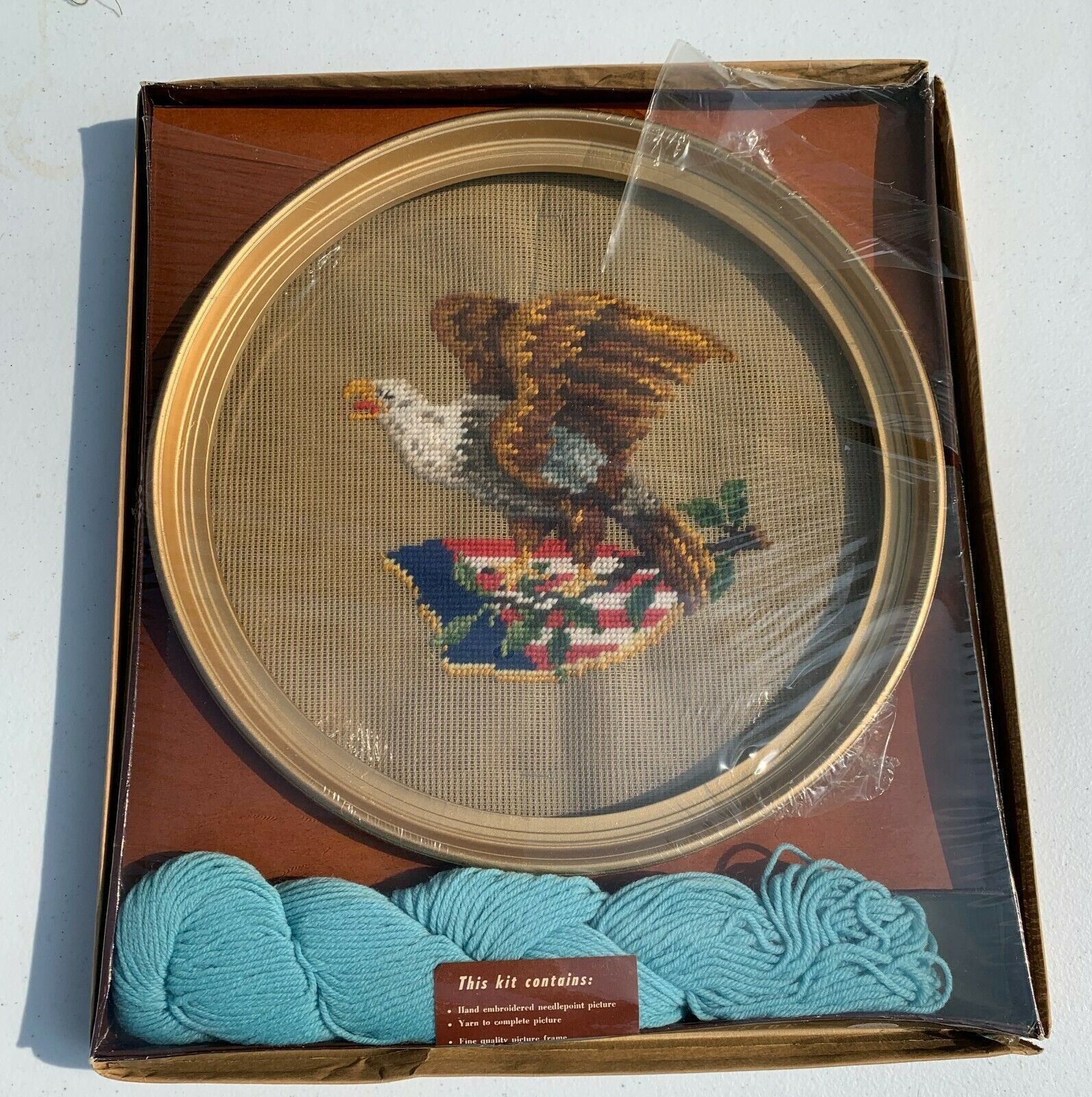 Primary image for Vintage Bucilla AMERICAN EAGLE NEEDLEPOINT Picture KIT Patriot Flag Beginner Rar