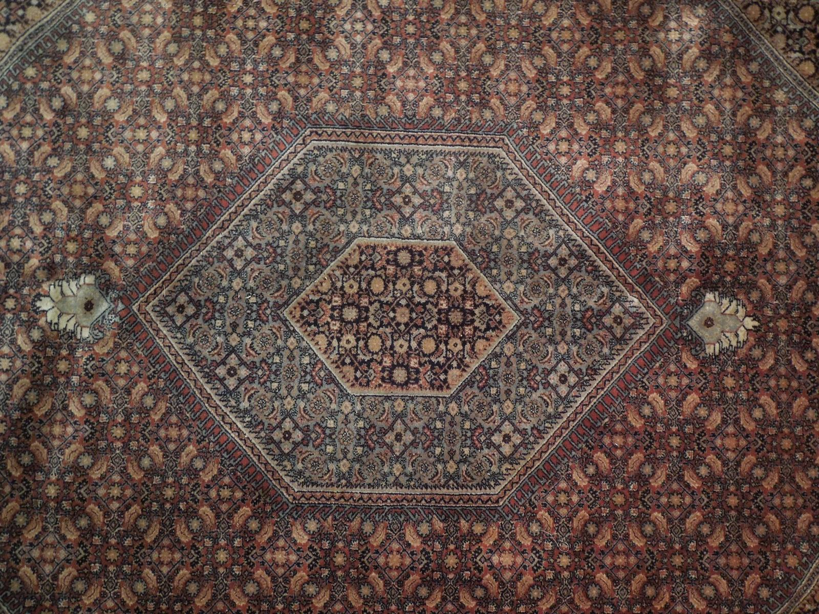 10 x 13 Brick Red Black New Indian Bijar Red Jaipur Wool Handmade Rug image 6
