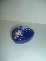 Westmoreland Hand Painted Roses L Plues Signed Cobalt Glass Heart Box - $29.99