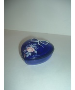 Westmoreland Hand Painted Roses L Plues Signed Cobalt Glass Heart Box - $23.39