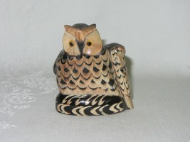 "Carved Buffalo Horn Vintage Owl w Baby Bird Figurine Art Sculpture 2 5/8"" H - $39.59"