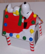 Peanuts SNOOPY & WOODSTOCK On His Holiday Decorated Dog House Bank - $5.89