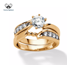 Round Cut White CZ Yellow Gold Plated 925 Sterling Silver Womens Bridal Ring Set - $97.99
