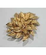 Capri Signed Pin Brooch Leaf Design Gold Tone Textured Vintage  - $13.49
