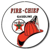 "Texaco / Fire Chief Metal Tin Sign - 11.75"" Round - $9.99"