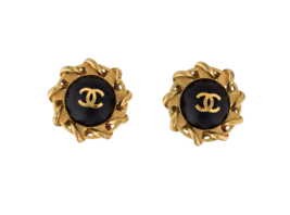 "CHANEL VINTAGE Gold Tone & Black Leather Chain CC Clip On Earrings 1.22""... - $391.05"