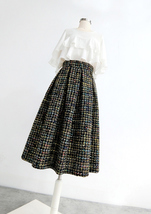 Black Tweed Midi Party Skirt Women A-line High Waist Pleated Tweed Skirt image 4