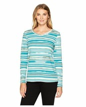 Erika Women's Gabrielle Misty Stripe Vneck Long Sleeve Tee, Malachite St... - $13.51