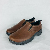 Lands' End Women's Size 7 All Weather Brown Leather Slip On Moc Shoes - $39.55