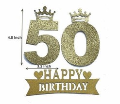 Alemon Number 50 Cake Topper 50th Birthday Party Supplies Decoration, G... - $21.34