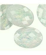 Resin Yellow Opal Cabochon, 40x30 mm, 30x40 cab opalescent rainbow plastic - $1.00