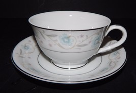English Garden 1221 Cup and Saucer Set Platinum White Pastel Floral Pattern - $16.82