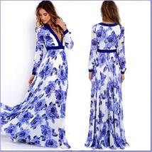 Ladies Empire Waist Flowing Full Flare Blue Roses Print V-Neck Long Sleeve Dress image 3