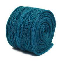 Frederick Thomas turquoise skinny cable knitted wool tie FT2212