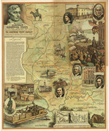 "23""x28"" - 1940 Pictorial Map Lincoln Memorial Trail Black Hawk War Art Poster - $26.24"