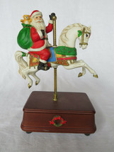 "VTG Porcelain Ceramic Santa Claus on Horses Carousel Music Box 10"" tall - $40.00"