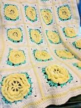 "Vintage Handmade Crochet Afghan Throw Blanket Yellow 3D Flowers 36""x59"" - $99.99"