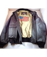 Navy Airborne USN Mens Brown Leather Bomber Flight Jacket Size Large - $224.95