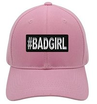 #BadGirl Hat - Pink Adjustable Womens - Funny Women's Hat - $15.79