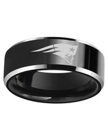 New England Patriots Black Band 8mm Stainless Steel Ring w/ Velvet bag - $9.49