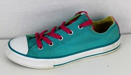 Converse all star girls green canvas low top sneakers chuck taylor size 2 - $19.84