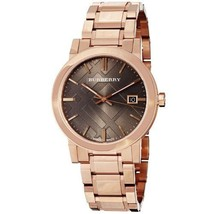 NEW BURBERRY BU9005 Large Check Rosetone Swiss Stainless Steel Bracelet ... - $296.99