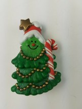 1981 Hallmark Holiday Christmas Pin Smiling Christmas Tree w/ Candy Cane - $9.65