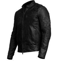 Vintage Cafe Racer Mens Biker Black Leather Jacket image 2