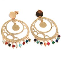 Drop Earrings Silver 925, Watch, le Favole, Agate Blue, Disco Perforated image 2