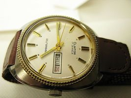 Clinton Swiss made men watch 17 jewel self winding automatic day date watch image 4