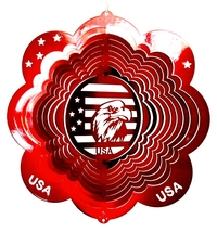 12 in stainless steel red Eagle Head USA 3D hanging garden wind spinner spinners - $32.00