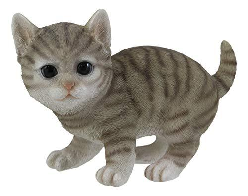 "Ebros Lifelike Crouching Grey Striped Tabby Cat Statue 8.25"" Long Realistic Glas - $22.99"
