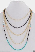 beaded necklace fashion womens jewelry new Multi-Layered long  gold tone - $229,47 MXN