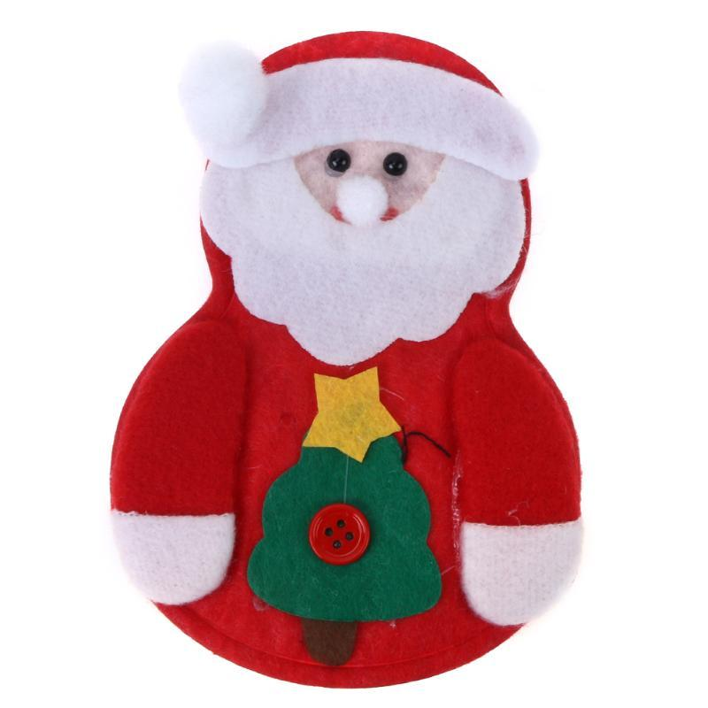 (as picture)1pcs Christmas Snowman Cutlery Bags Santa Claus Kitchen Dining Table