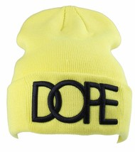 Dope Couture 3D Embroidered Neon Yellow Beanie
