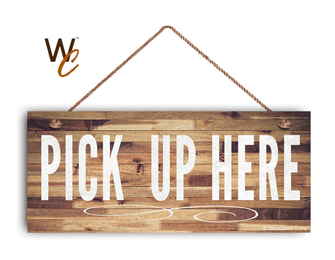 "Primary image for Pick Up Here Sign, White Text, Restaurant Sign, Rustic Decor, 6"" x 14"" Sign"