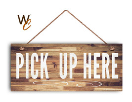 "Pick Up Here Sign, White Text, Restaurant Sign, Rustic Decor, 6"" x 14"" Sign - $19.80"