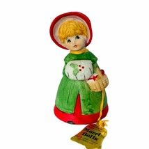 Jasco merri-bells Christmas figurine 1978 vtg caroler basket muff holida... - $24.14