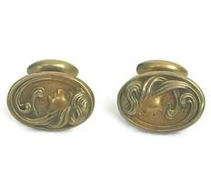 Antique Art Nouveau Period Men's Goldtone Cufflinks Lovely Woman Maiden ... - $32.73